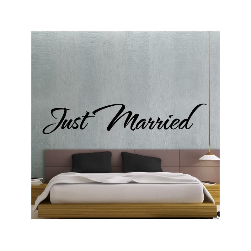 Sticker Texte Lettrage : Just Married