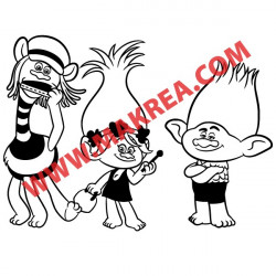 Sticker Les Trolls - Poppy, Cooper et Branche