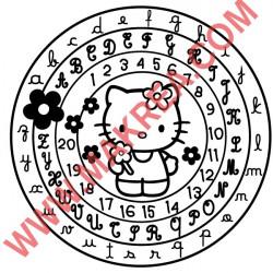 Sticker Hello Kitty Cercle Alphabet et Chiffres