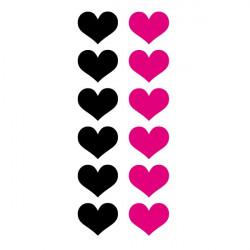 Sticker lot 12 Coeurs 2 couleurs au choix