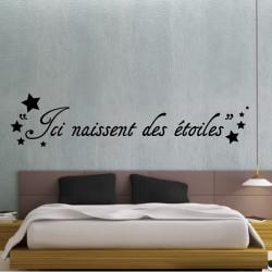Sticker texte : Ici naissent des étoiles
