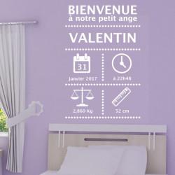 Sticker Cadre Naissance - Bienvenue - Date - Poids - Prénom ...