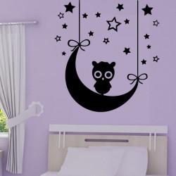 Stickers Chouette Lune et Etoiles