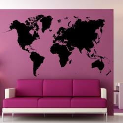 Sticker Carte du Monde Détaillée - Mappemonde - Plasnisphère