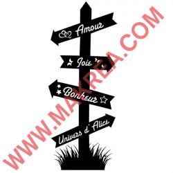 Sticker Panneau Directionnel Prénom Personnalisable