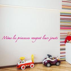 Sticker Texte Même les princesses rangent leurs jouets