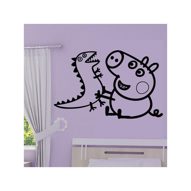 Sticker Peppa Pig - George & Dinosaure Jouent