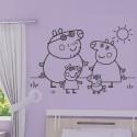 Sticker Peppa Pig - Maman Pig, Papa Pig, George et Peppa Pig