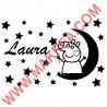 Sticker Peppa Pig - Fée, Etoiles et prénom