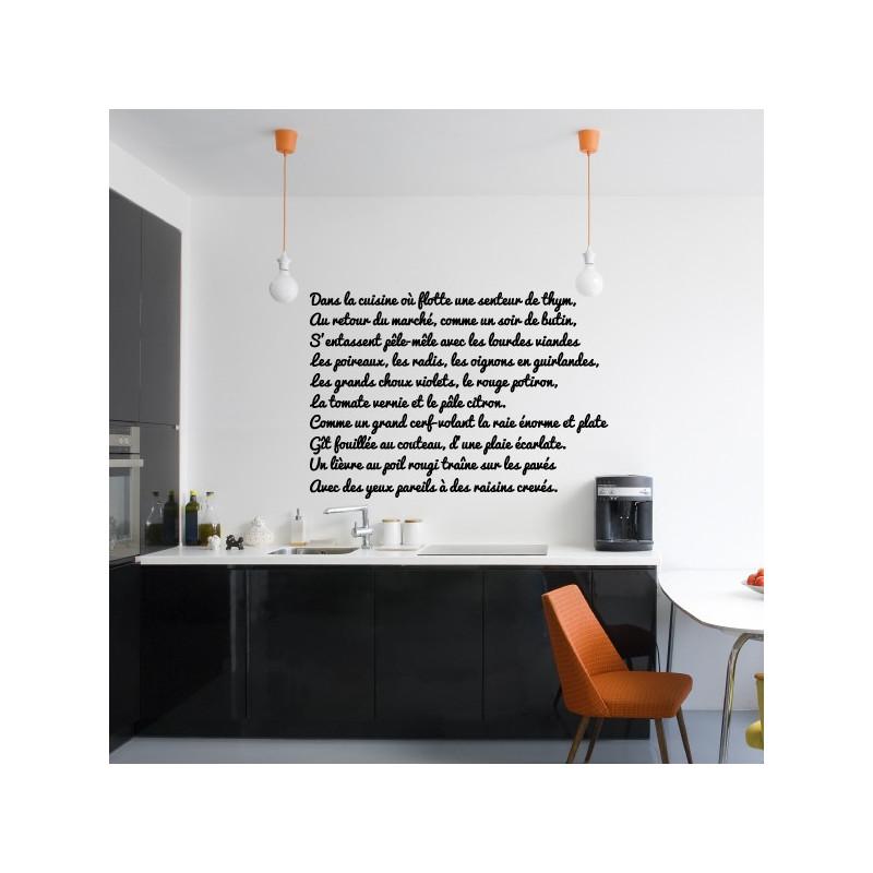 Sticker Texte : Dans la cuisine où flotte une senteur de thym...