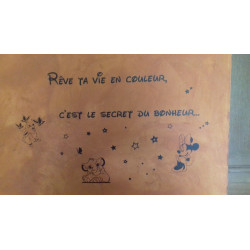 Sticker Texte : Rêve ta vie en couleur, c'est le secret du bonheur