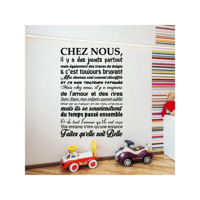 Sticker Texte Chez Nous, il y a des jouets partout