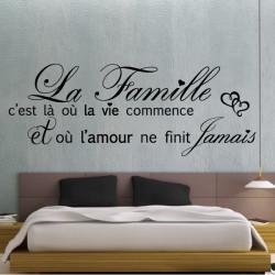 Sticker Texte La Famille c'est là où la vie commence + Coeurs