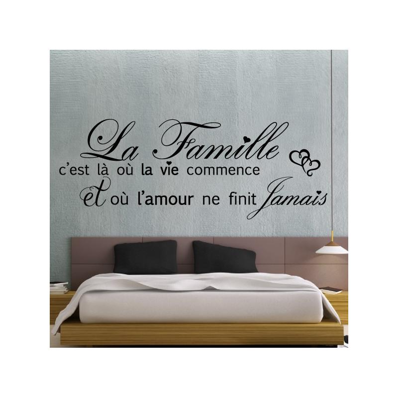 Sticker Texte La Famille c'est la ou la vie commence + Coeurs