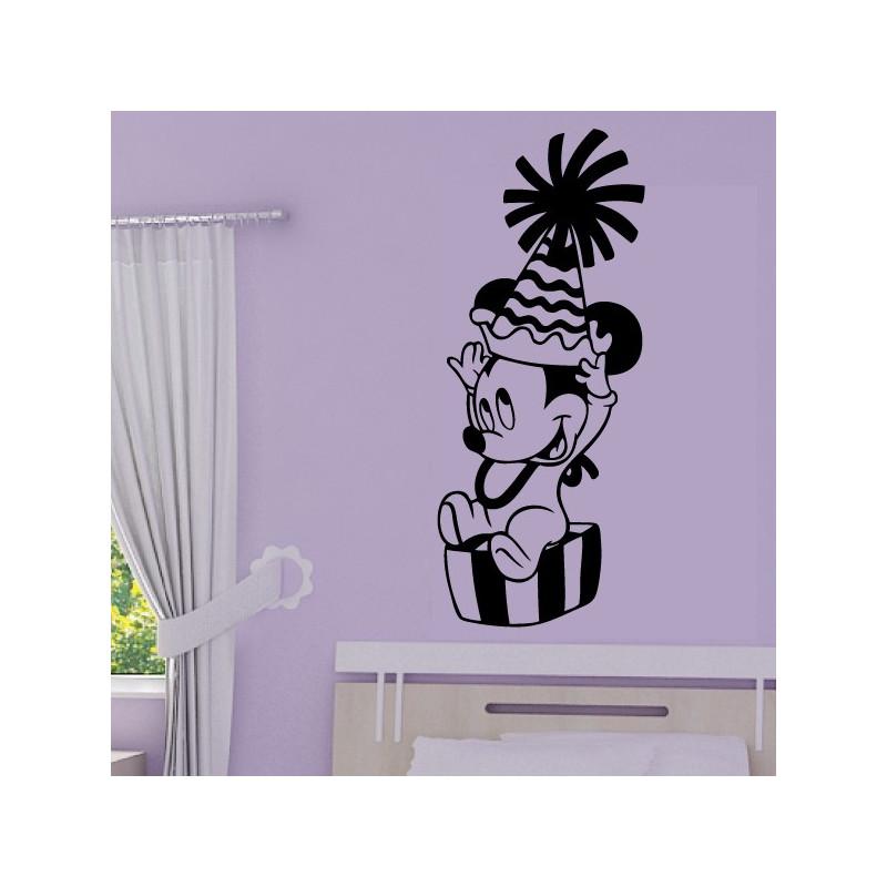Sticker Bébé Mickey chapeau de fête