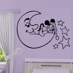 Sticker Mickey Bébé dort sur la Lune