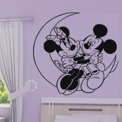 Sticker Minnie & Mickey sur la Lune