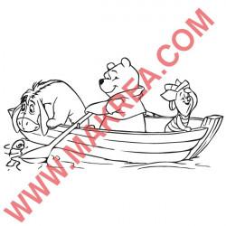 Sticker Winnie Bourriquet & Porcinet en bateau
