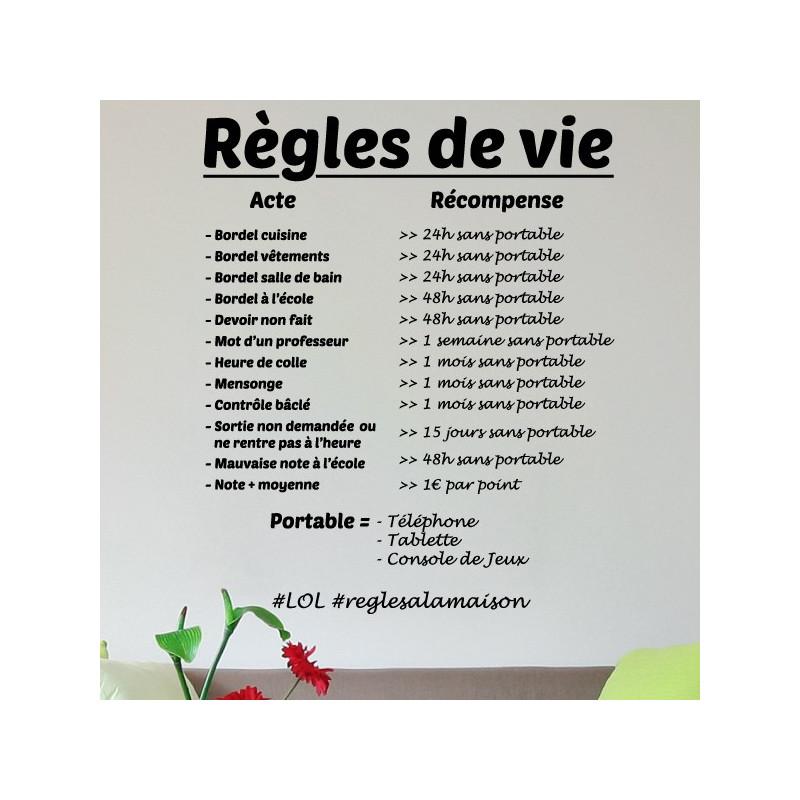 Sticker Texte Règles de vie