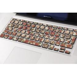 Sticker Têtes de Mort Rose pour Clavier Macbook