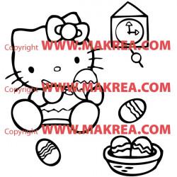 Sticker Hello Kitty Peinture sur Oeufs
