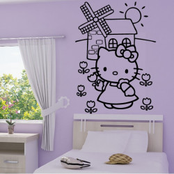 Sticker Hello Kitty Moulin