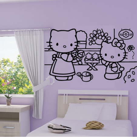 Sticker Hello Kitty au Jardin