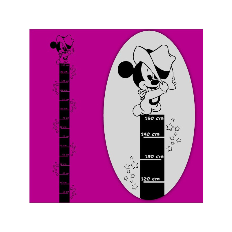 Sticker Règle de croissance Mickey Bébé Etoiles