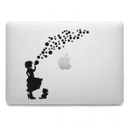 Sticker Fillette souffle des bulles pour MacBook