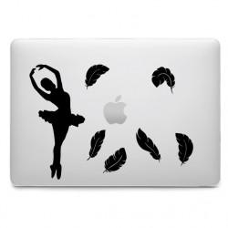 Sticker Danseuse Ballerine Plumes pour MacBook