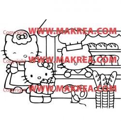Sticker Hello Kitty à la Boulangerie