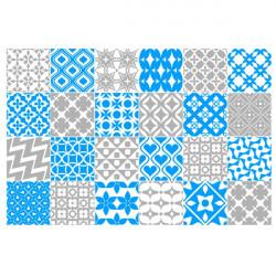 Stickers Crédence 24 Carreaux de Ciment 2 couleurs au choix
