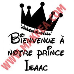 Sticker Couronne Bienvenue à notre prince + prénom personnalisable