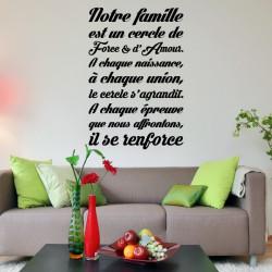 Texte Notre famille est un cercle de Force & d'Amour
