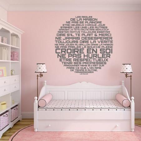 Sticker Texte les regles de la maison - Rond