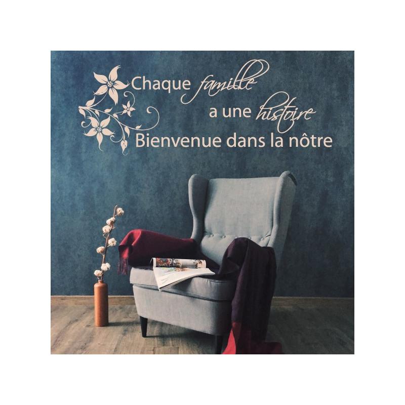 Sticker Texte - Chaque famille a une histoire Bienvenue dans la nôtre