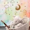 Sticker Lune Hiboux, nuages et étoiles
