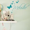 Sticker Prénom Déco Papillons et Etoiles