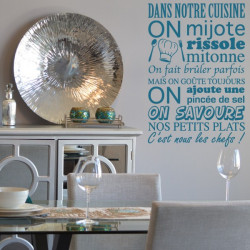 Sticker Texte Dans notre cuisine on mijote...