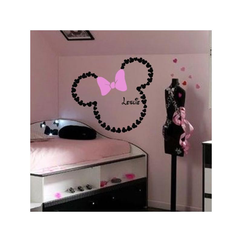 Sticker Minnie - Tête Géante avec Noeud & Prénom