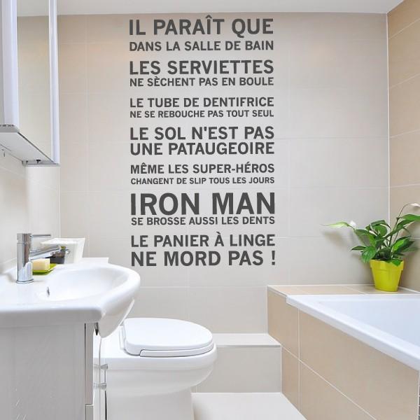Les Règles De La Salle De Bain...Iron Man. Sticker Mural Texte ...