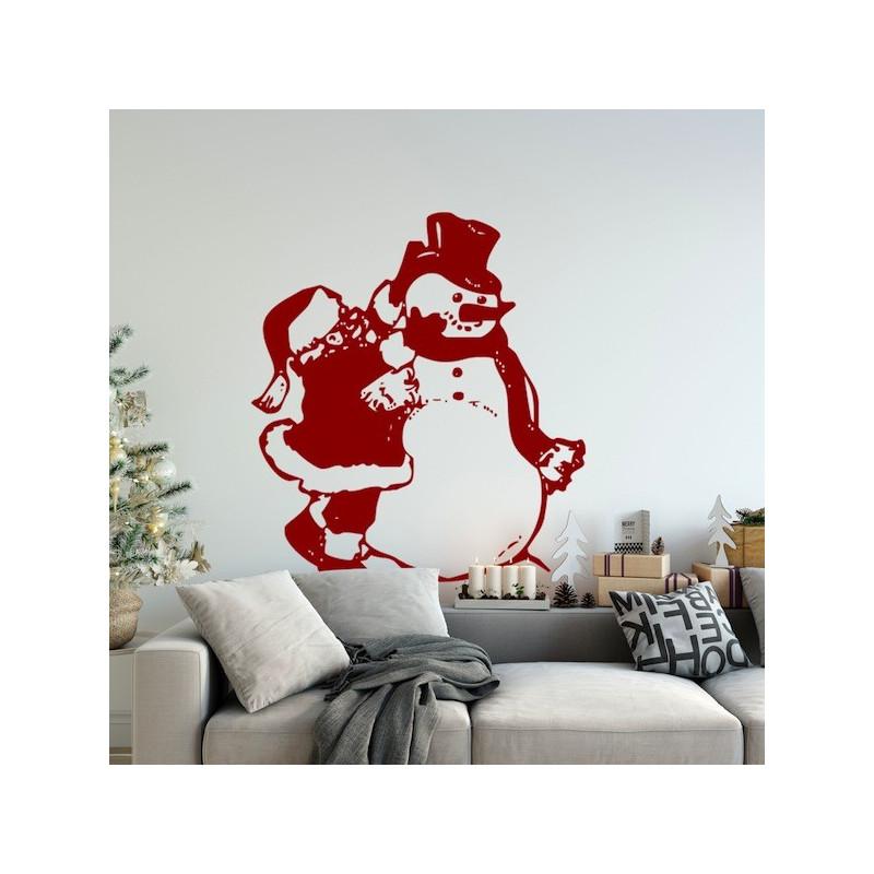 Sticker Noël - Père Noël et Bonhomme de Neige