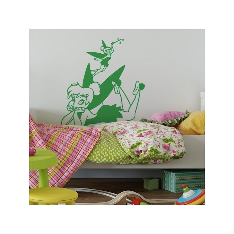 Sticker Peter Pan - Fée Clochette Allongée Ailes Colorées