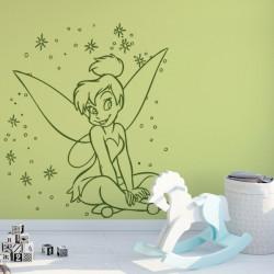 Sticker Peter Pan - Fée Clochette Assise Pluie d'étoiles