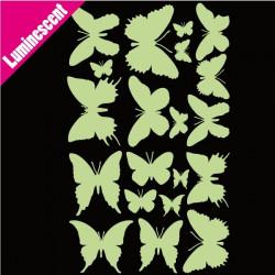 Sticker Luminescent Pack/Lot 20 Papillons