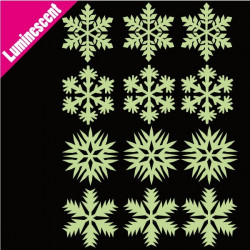 Sticker Luminescent 12 Flocons de Neige