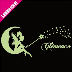 Sticker Luminescent Fée sur la lune & baguette magique