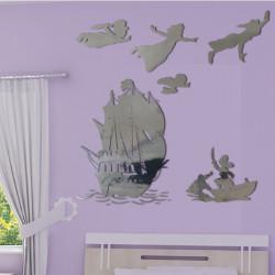 Sticker Miroir - PACK Silhouette Peter Pan s'envole, bateau pirate, Capitaine Crochet