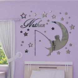 Sticker Miroir - Enfant sur la lune qui pêche - Etoiles et Prénom