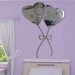 Sticker Miroir - Ballons coeurs